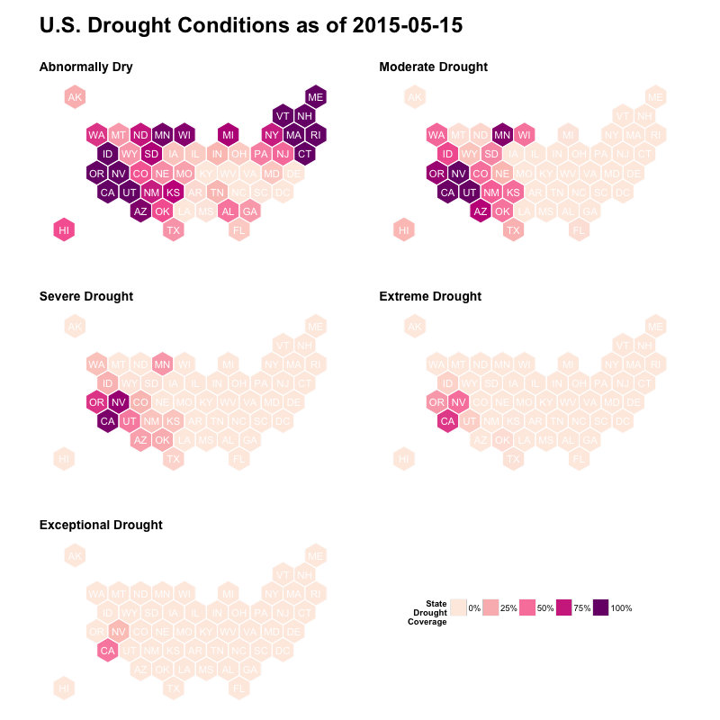 U.S. Drought Monitoring With Hexbin State Maps in R