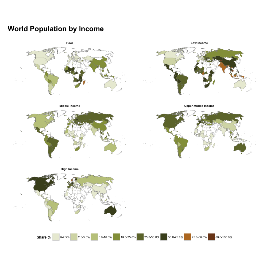 "Faceted ""World Population by Income"" Choropleths in ggplot"