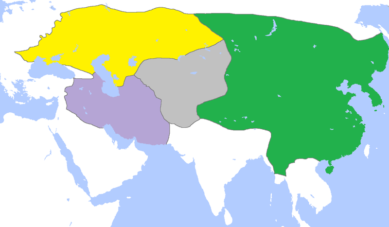 Subdivisions Of The Mongol Empire - Genghis Khan on hulagu khan, vladimir lenin, khabul khan map, bruce lee, huns map, jack kevorkian, napoleon map, batu khan, mongol empire, mongol invasion of europe, ghengis khan map, marco polo map, jeanne d'arc, khan dynasty map, road trip map, amelia earhart map, ming dynasty, che guevara, robin hood map, golden horde, karl marx, kublai khan, great khan map, yuan dynasty, julius caesar map,